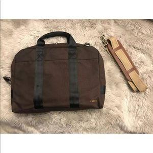 New Fossil Brown Canvas Laptop Shoulder Bag